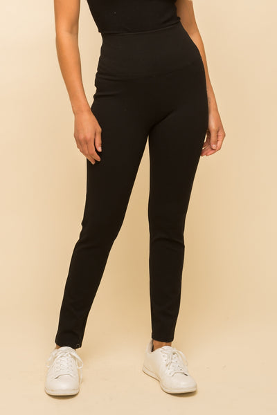 High Waist Black Ponte Pants