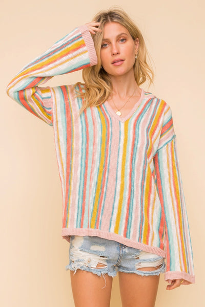 Summer Striped Hoodie Pullover