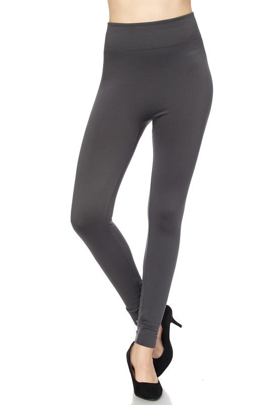 Charcoal Gray Fleece-Lined Leggings