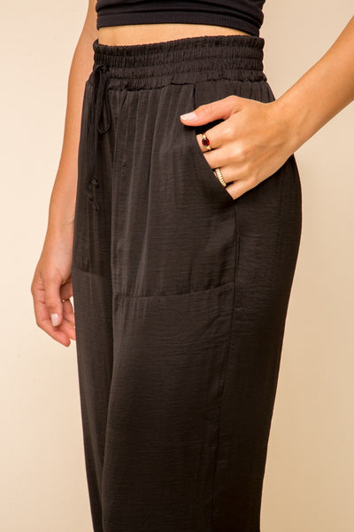 Satin Jogger Pants - Black