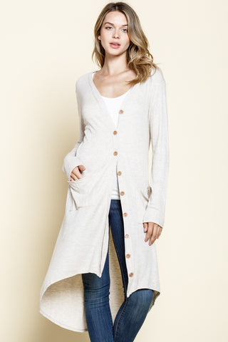 Button Up High/Low Cardigan - Cream