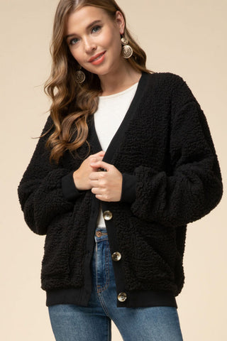 Teddy Bear Cardi - Black