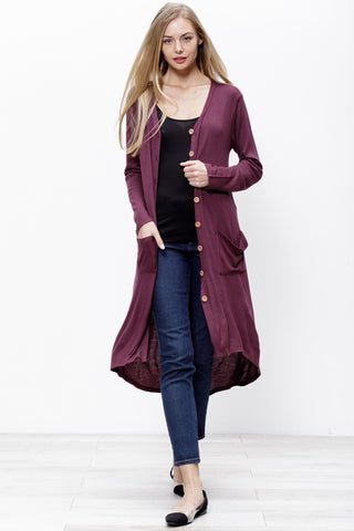 Button Up High/Low Cardigan - Plum