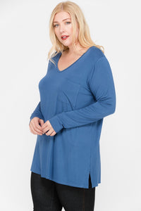 Blue Bamboo V-Neck Top - Plus