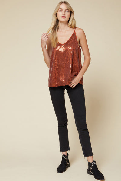 Rust Orange Sequin Top