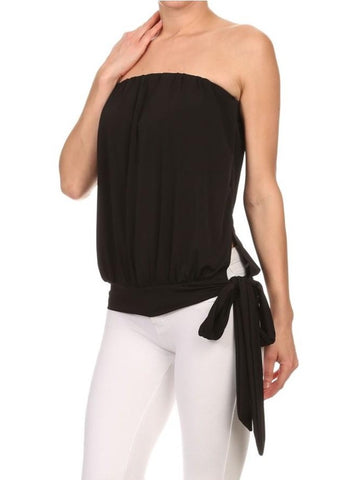 Black Strapless Tie Top