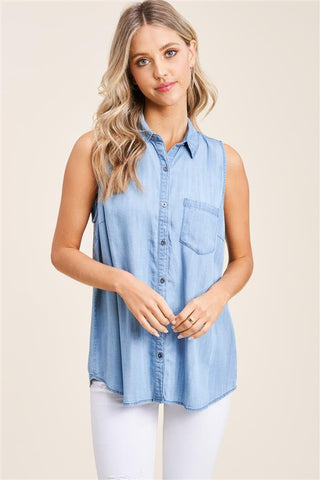 Sleeveless Chambray Button Down