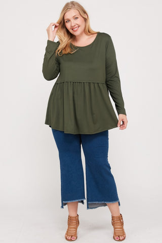 Savannah Peplum Top - Green