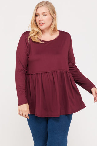 Savannah Peplum Top - Burgundy