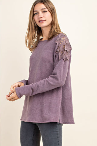Floral Shoulder Top - Purple
