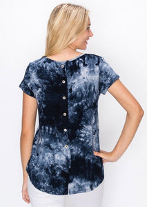 Tie Dye Button Back Top - Navy