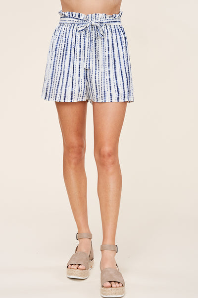 Blue + White Tie Shorts