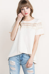 Ivory Crochet-Trimmed Top