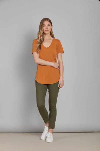 Vivi V-Neck Top - Ginger