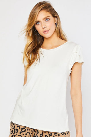 Tulip Sleeve White Top