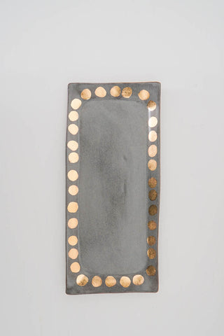 Charcoal + Gold Dot Vanity Tray