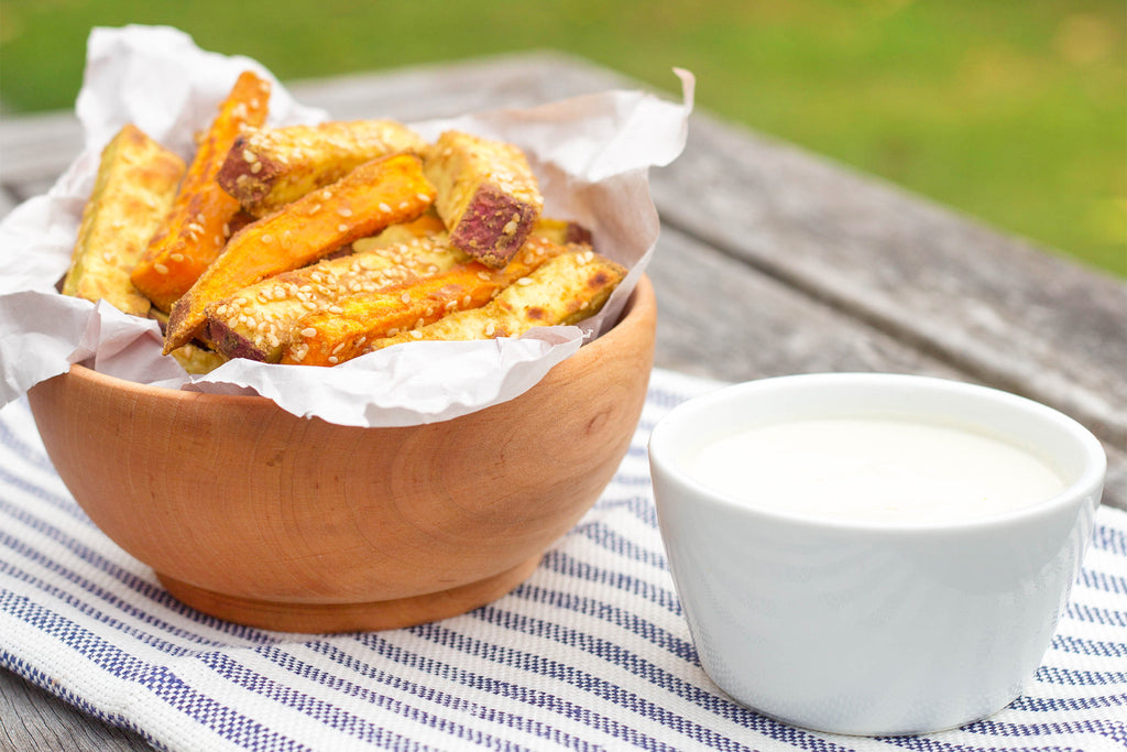 Sesame Crusted Kumara Fries with Cashew Aioli