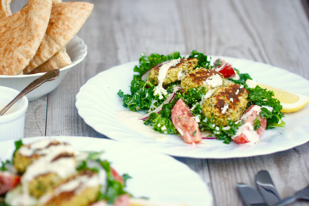Falafel Salads with Garlic Tahini