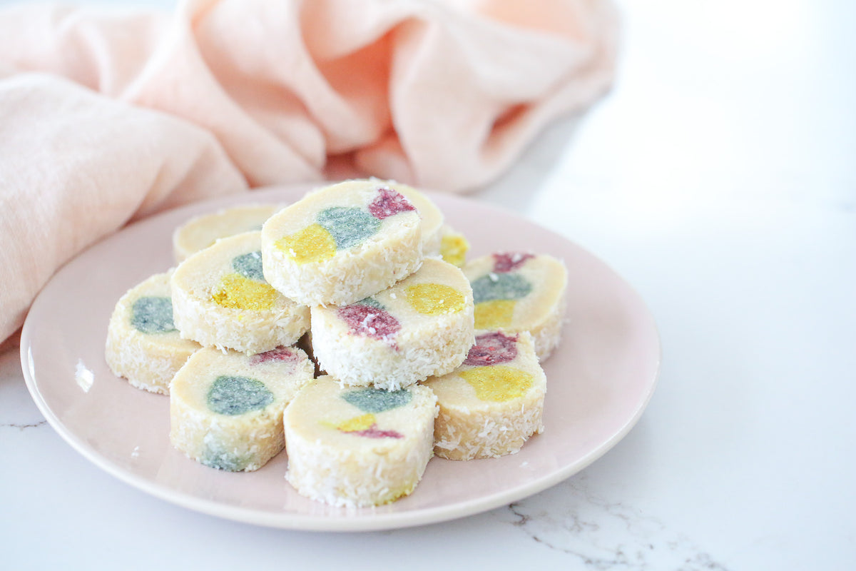 Delicious childhood lolly cake recipe, like your favourite lolly slice or log, but made healthy so friendly for anyone who is plant-based, vegan, gluten free, refined sugar free, low-sugar, paleo or keto!