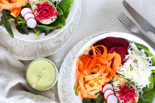 Rainbow Bowls with Green Tahini Dressing