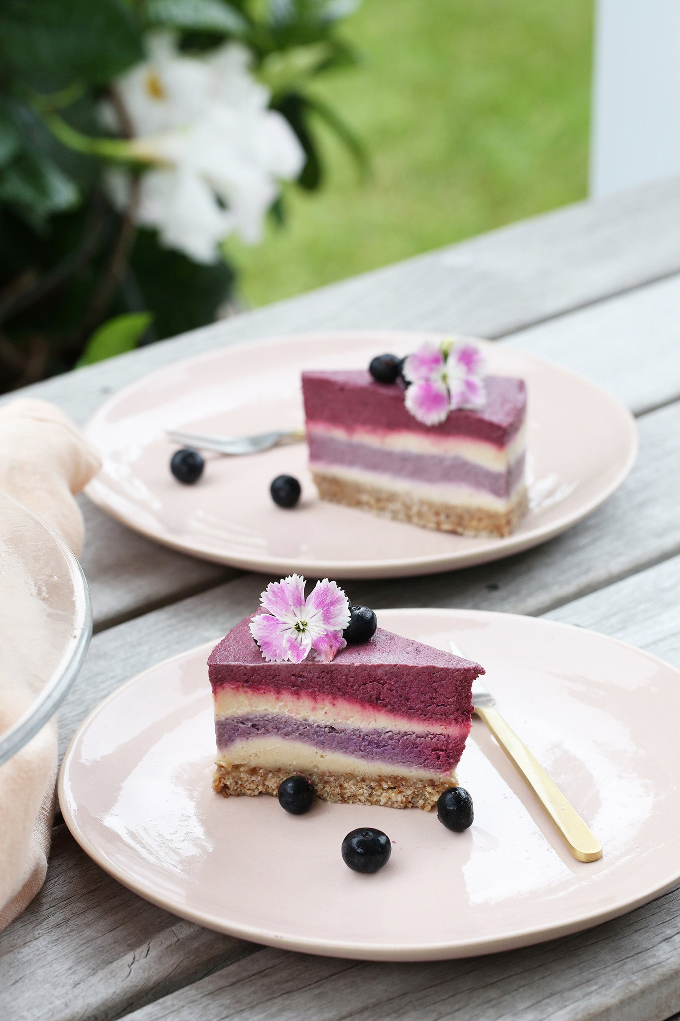 BLUEBERRY & BEETROOT CAKE - healthy, plant-based, raw, vegan, dairy free, refined sugar free, low sugar, high protein, nut free base, recipe, begoodorganics