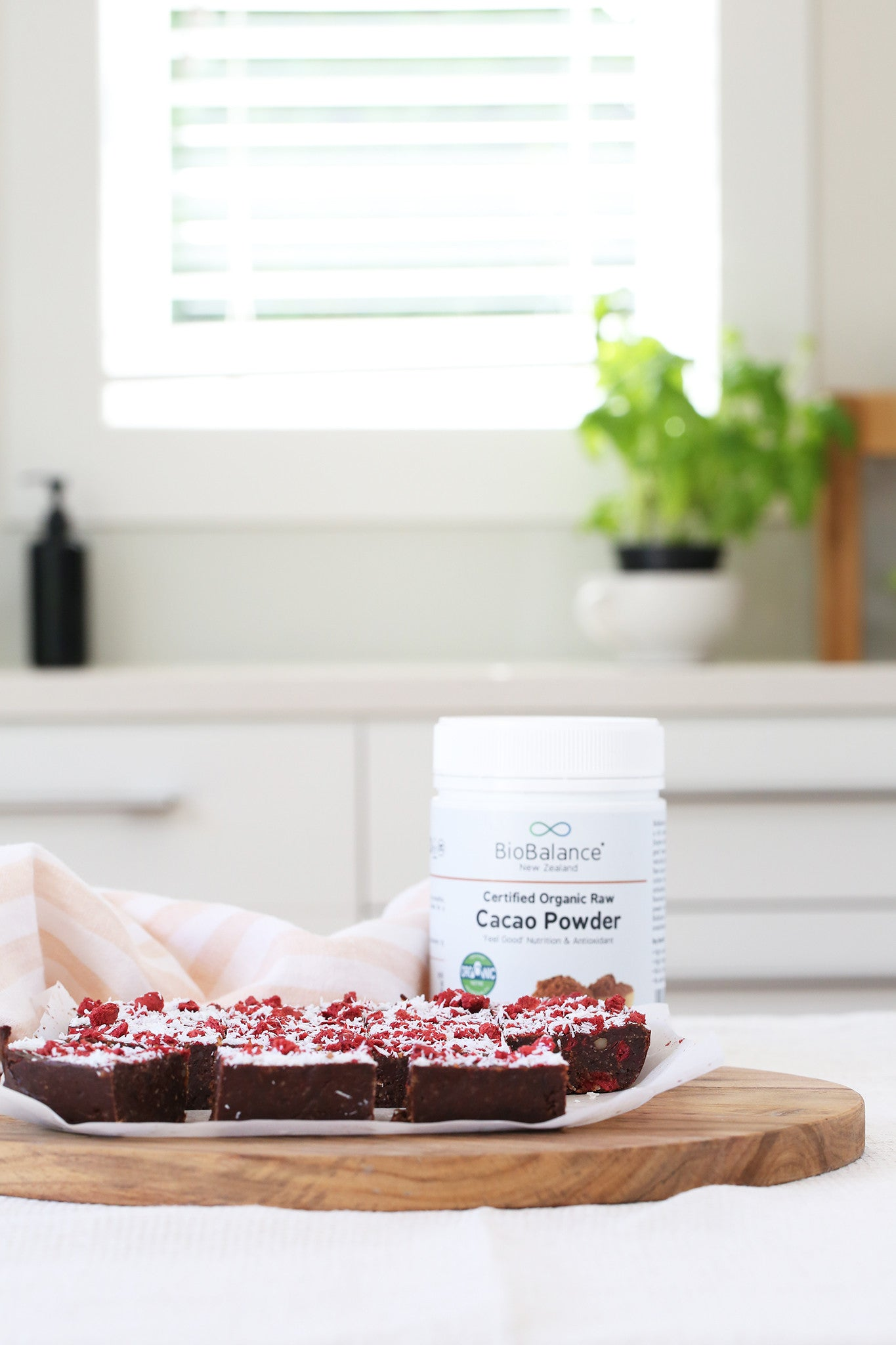 CHERRY RIPE BROWNIE - delicious, healthy, low sugar, plant-based, vegan, whole foods, dairy free, gluten free, raw, coconut, chocolate, brazil nuts, selenium, 10 minutes, easy, recipe, begoodorganics