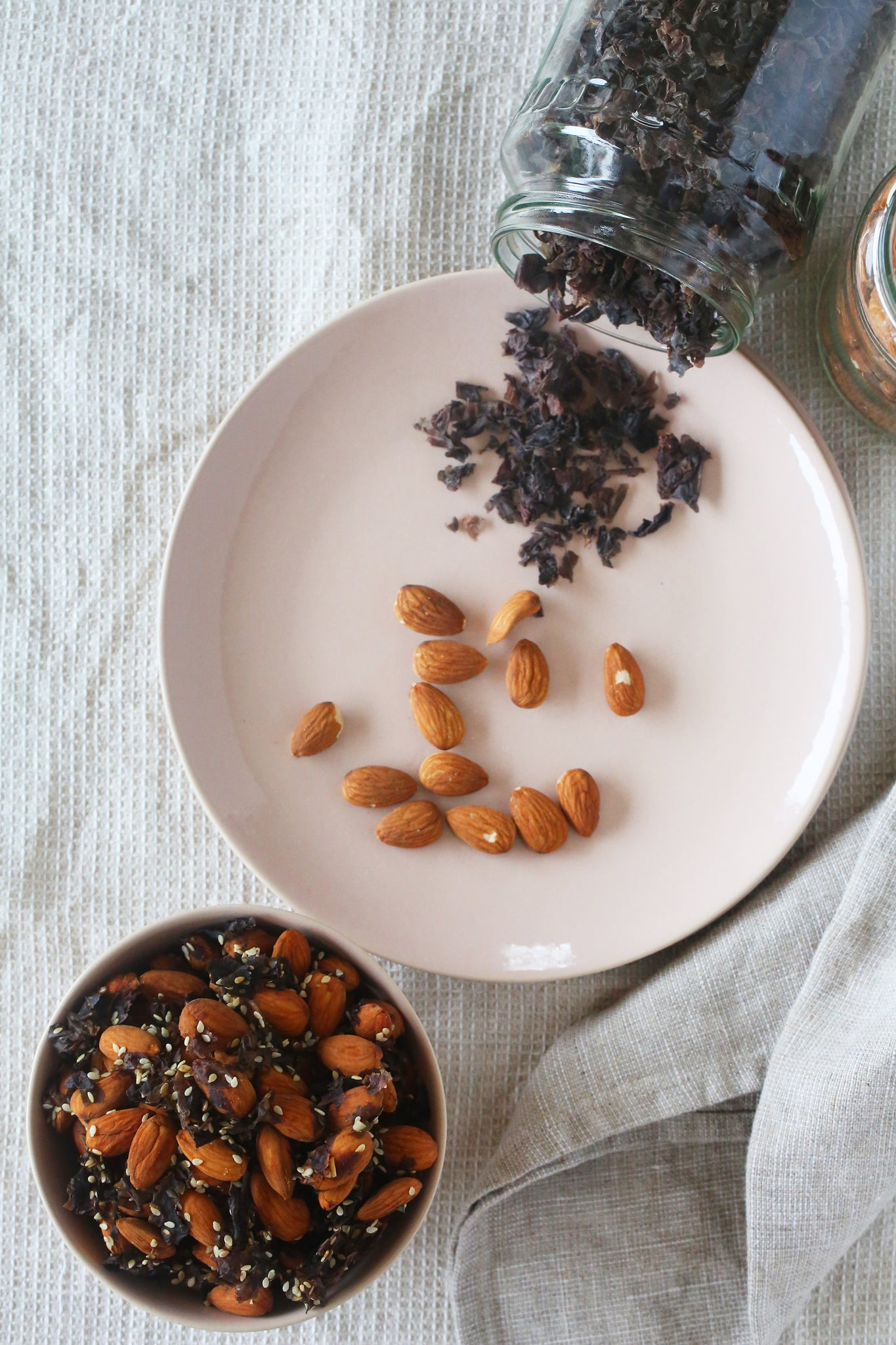 Easy 4 ingredient TAMARI, KARENGO AND SESAME ALMONDS - the perfect cupboard stocker to have on hand for salads - vegan, plant based, gluten free, sugar free, dairy free, salad topper, begoodorganics
