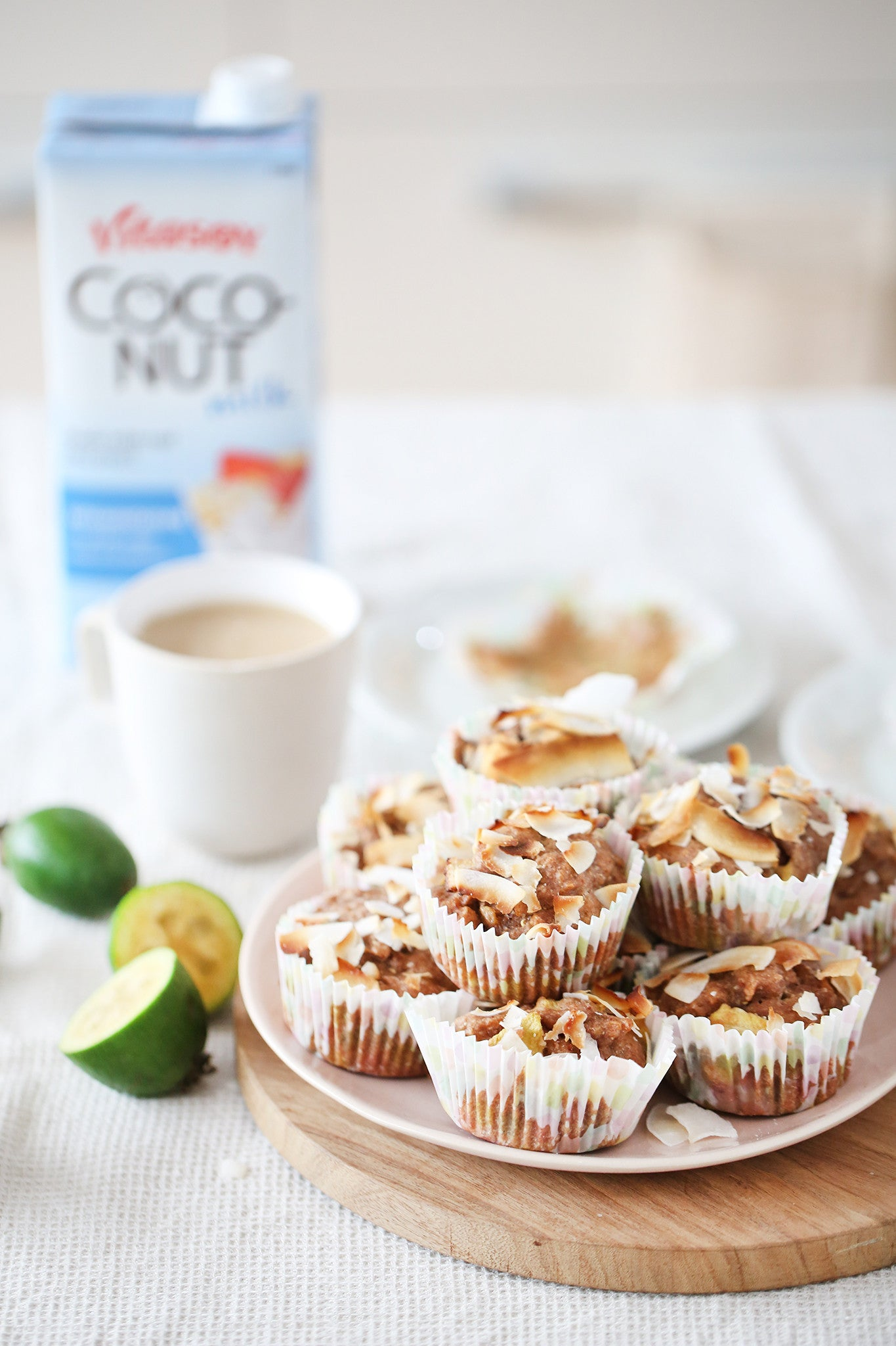 These light and fruity muffins use one of my favourite fruits – feijoas! If you're a feijoa fan you'll love these (and if not, come to NZ to try them!) Vegan, dairy, egg, gluten and refined added sugar free.