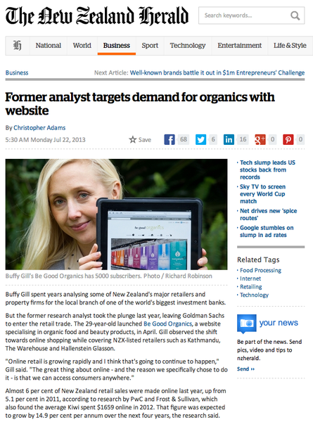 NZ Herald Be Good Organics Article