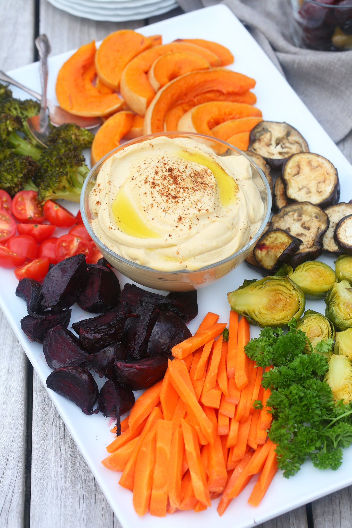 Rainbow VEGGIE PLATTERS WITH ROASTED GARLIC HUMMUS - the perfect dish for a potluck, vegan, dairy free, healthy, sugar free, gluten free, high protein, low cal, easy, begoodorganics 1.jpg