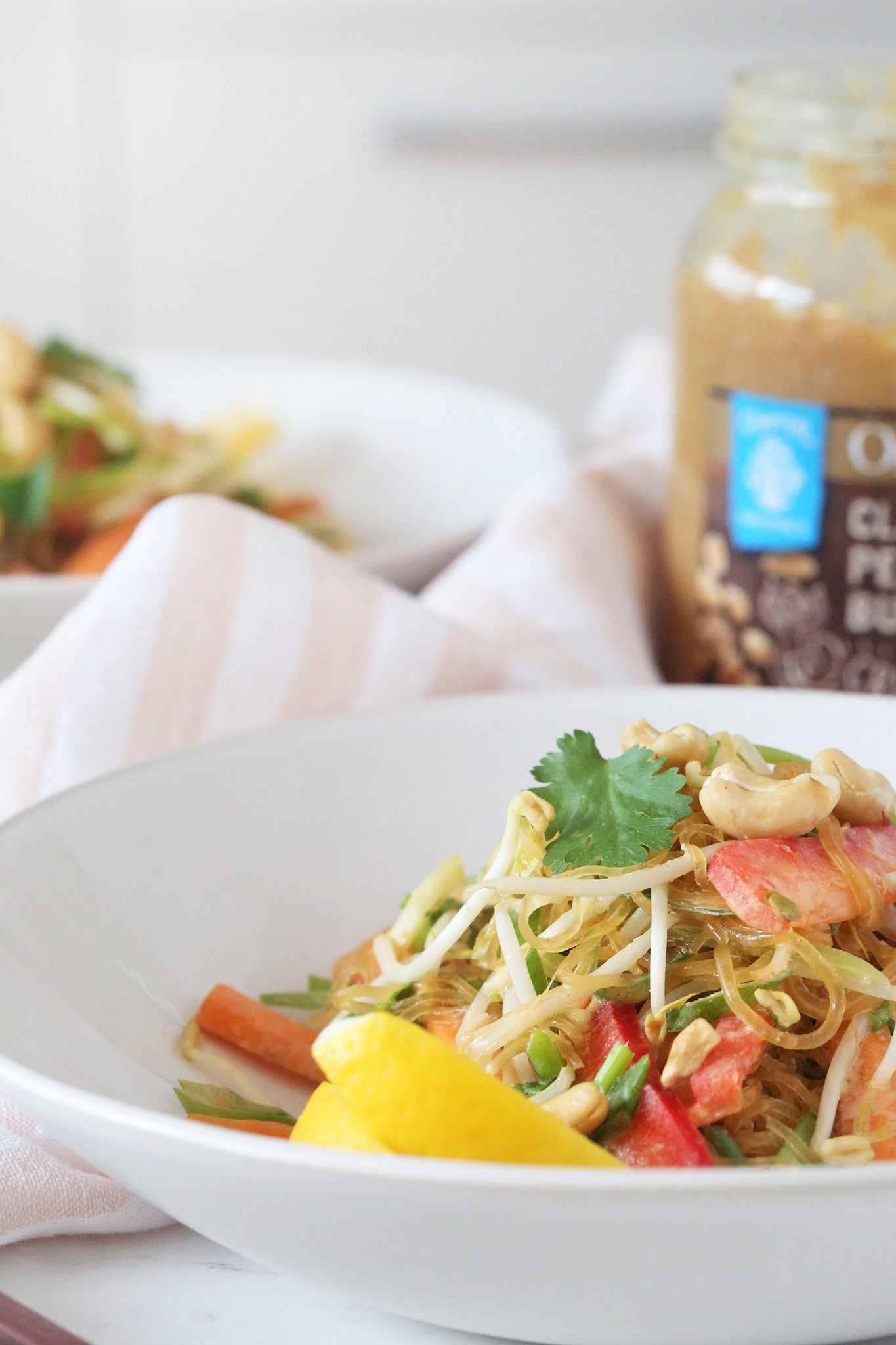 VEGAN PAD THAI SALAD - healthy, plant-based, egg free, dairy free, no fish sauce, grain free, low carb, kelp noodles, peanut butter, almond butter, recipe, easy, begoodorganics