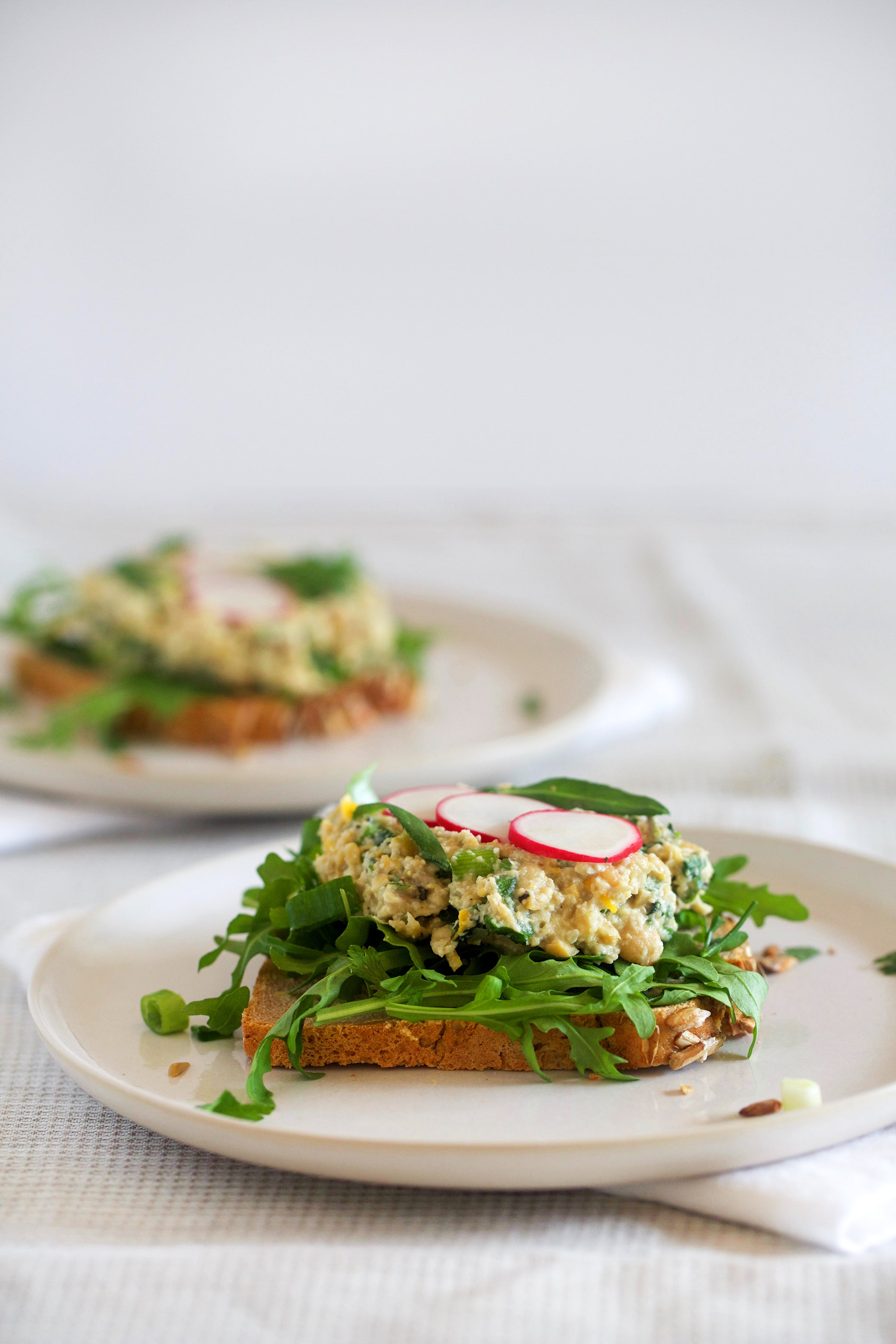 Vegan CHICK 'N MAYO SANDWICHES - a delicious healthy meat and dairy free take on a classic chicken mayo sandwich combo - made with chickpeas and sunflower seeds