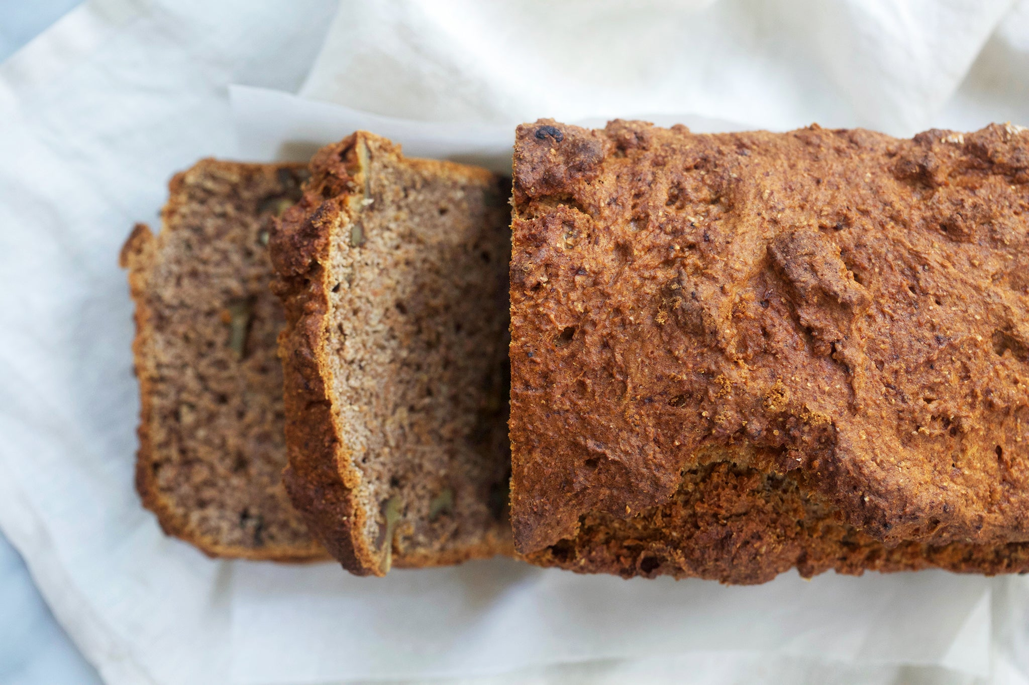 Vegan Gluten Free BANANA WALNUT BREAD - healthy, low sugar, recipe, breakfast, no refined sugar, dairy free, egg free