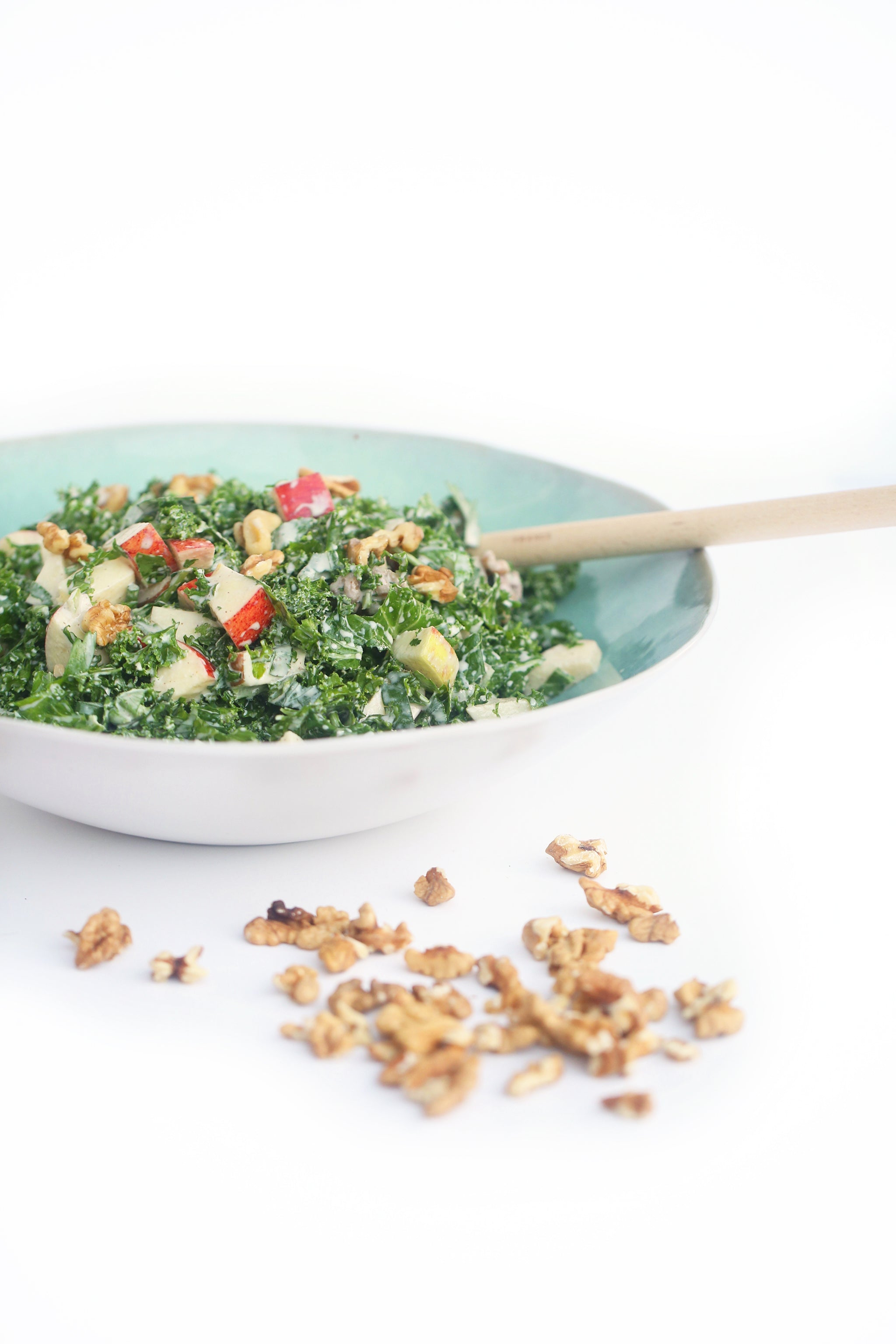 Waldorf Kale Salad - a fresh take on an 80's classic, with a delicious creamy tahini mayonnaise #vegan #dairyfree #salad #healthy #begoodorganics