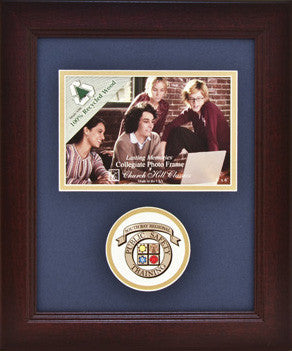 "Photo Frame with Academy Logo Brown Frame with Blue & Gold mat holds 4"" x 6"" photo"