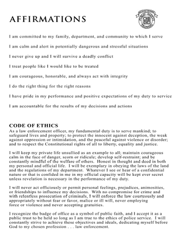 Code of Ethics Card