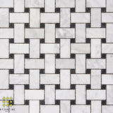 Basketweave Carrara & Nero Marquina honed mosaic