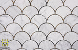 Carrara Fan shaped mosaic