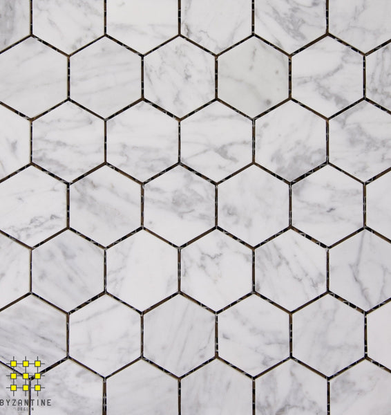 Carrara Gioia Venata honed hexagon 48x48