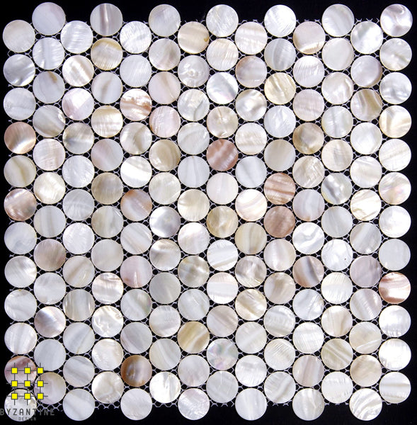 Mother of Pearl Blush penny round mosaic