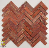 Red travertine herringbone