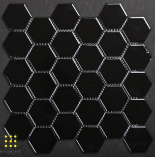 Hexagonal black gloss porcelain mosaic