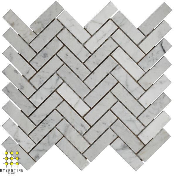 Carrara marble honed herringbone mosaic