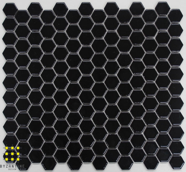 Hexagonal black gloss porcelain mosaic 23mm