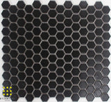 Hexagonal black matt porcelain mosaic 23mm