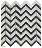 Chevron - Carrara and Nero Marquina marble honed