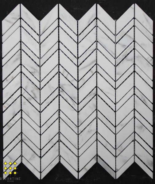 Chevron - Carrara on Carrara honed