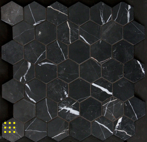 Nero Marquina hexagon 48mm
