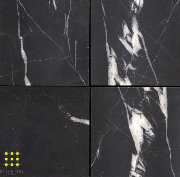 Nero Marquina marble honed 100x100