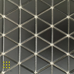 Classic Triangle Matt Black Porcelain Mosaic